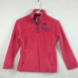 Patagonia deep pink 1/4 snap popover girl's fleece